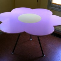 "Flower Table, 1994, mdf, steel, automotive paint. 48.5"" x 28.5"""
