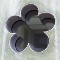 "Flower Window, 2008, aluminum, glass and rubber. 13"" x 8"""