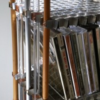 """CD Tower, 1990 (detail) metal, plastic, bamboo, found object. 7"""" x 7"""" x 38"""""""