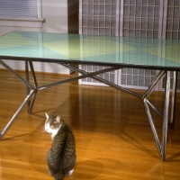 """Dining Room Table ,1994, steel, glass, pegboard, paint. 34"""" x 66"""" x 30"""""""