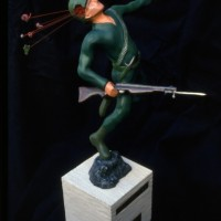 "GREAT MOMENTS IN WAR: FIRST CATCH! 1988 resin, paint, wire and concrete. 16"" x 12"" x 5"""