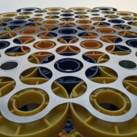 """Core Table 2016 16mm cores and aluminum. 21""""w x 19""""d x 23""""h"""